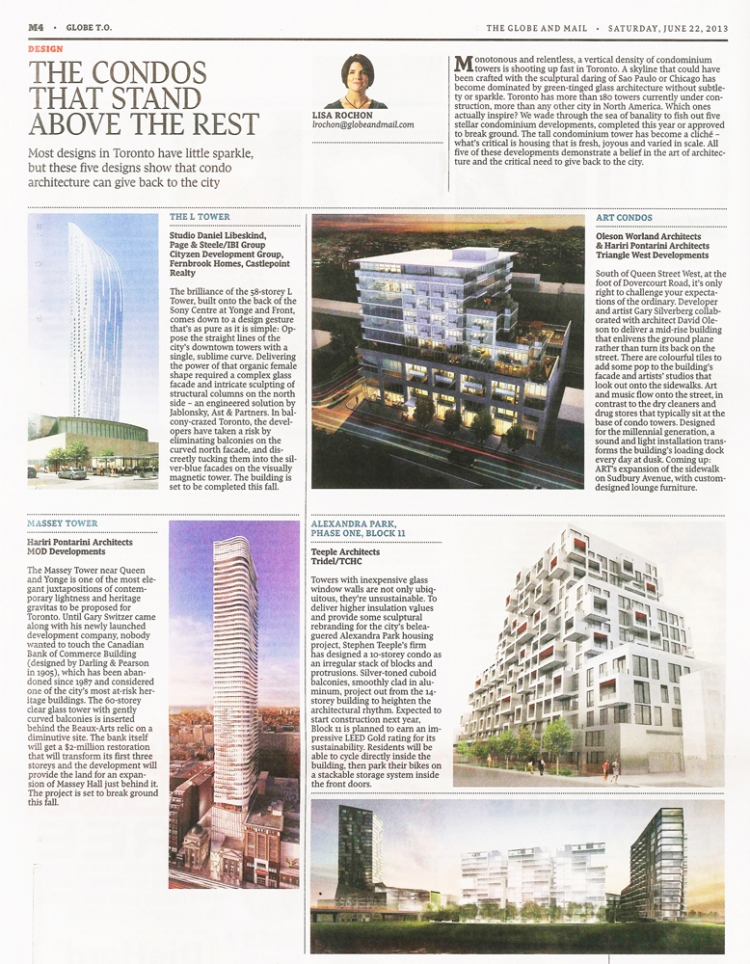 Alexandra Park Phase 1 Block 11 featured in this weekend's Globe and Mail