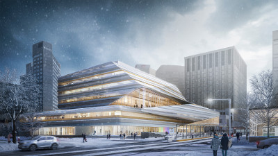 The Stanley A. Milner Library Renewal. Rendering by Norm Li.