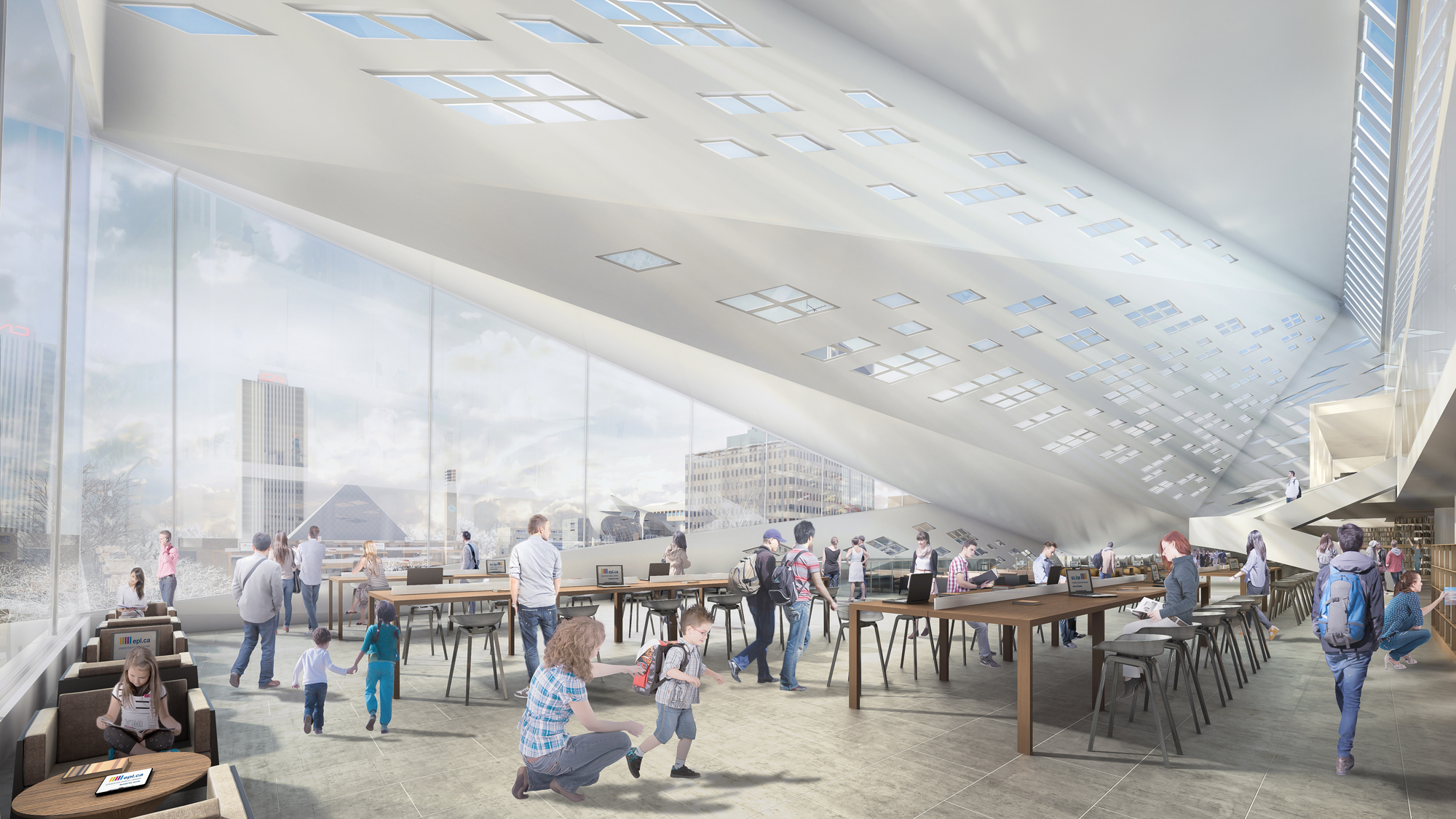 The Stanley A. Milner Library Renewal Interior. Rendering by Norm Li.