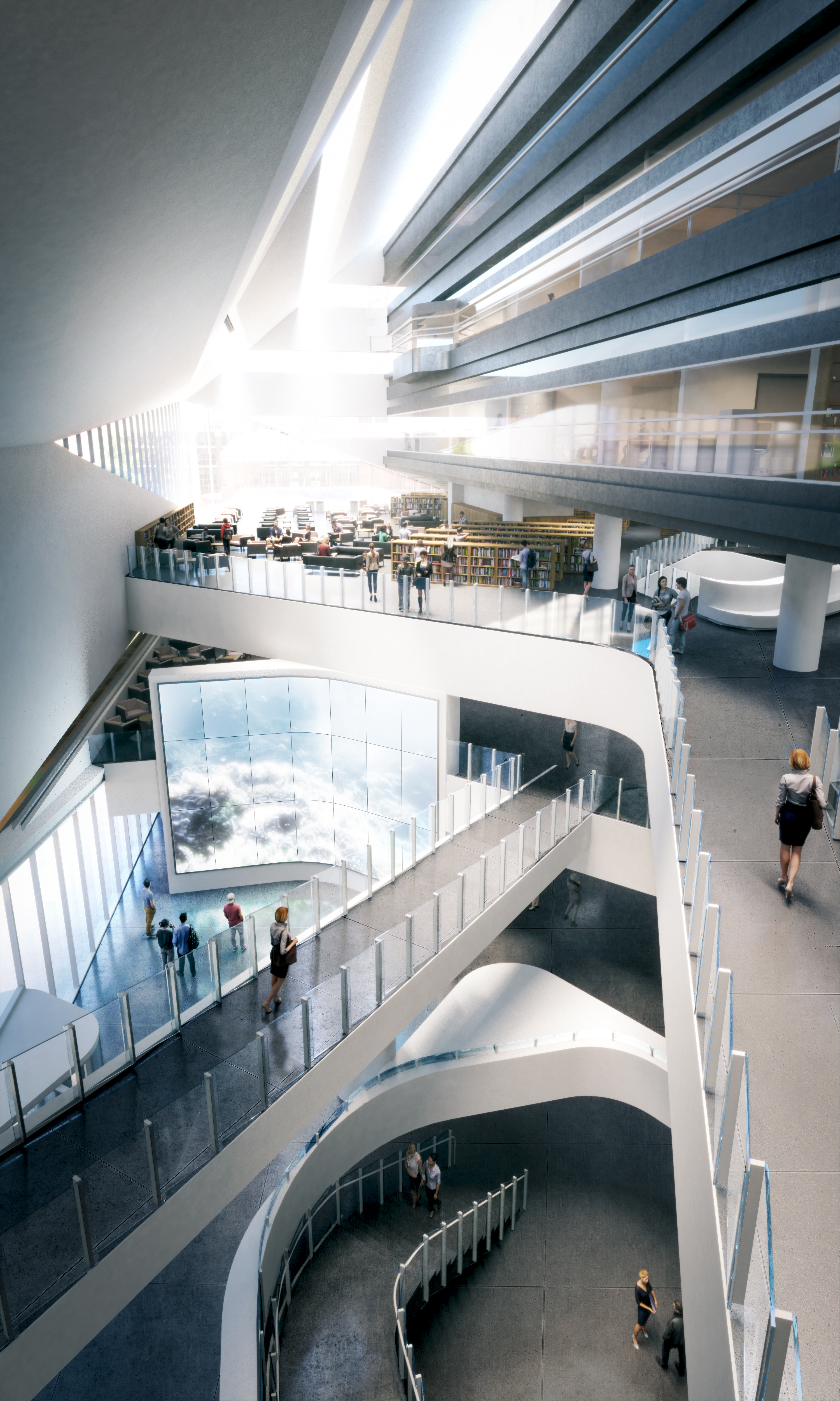 Atrium space within the Stanley A. Milner Library Renewal. Rendering by Norm Li.