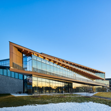 Evening view of south façade of student centre. Photo by Andrew Latreille.
