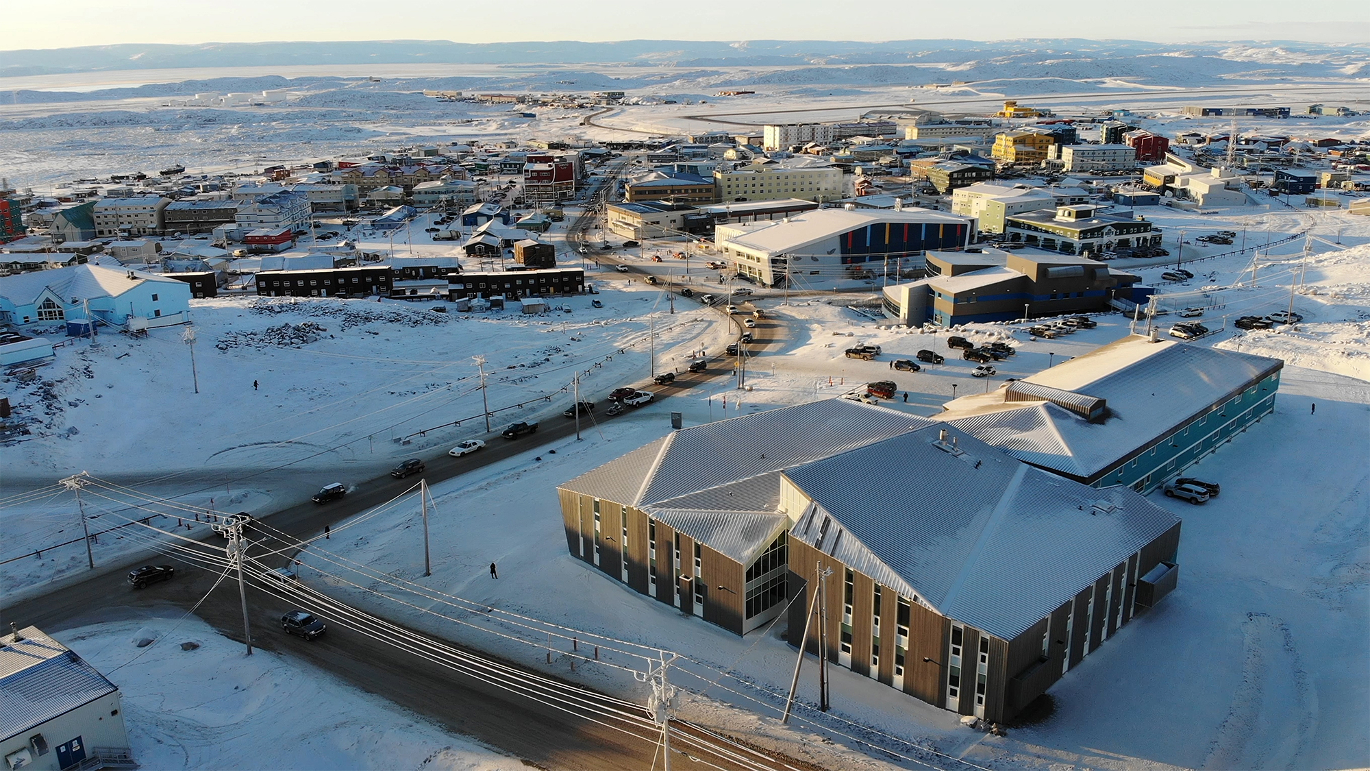 Aerial view of the Nunavut Arctic College Expansion in the context of the City of Iqaluit. Photo by Julie Jira.