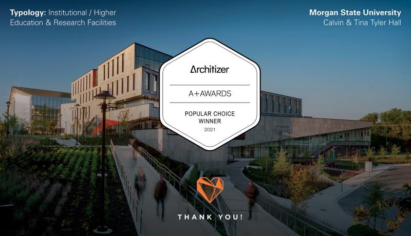 Morgan State University's Tyler Hall Wins Popular Choice Award at the 2021 Architizer A+Awards!